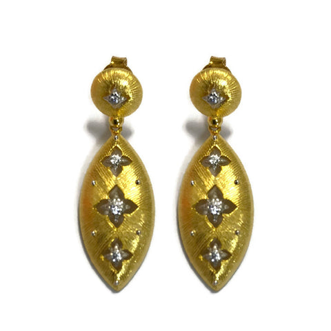 Florentine Teardrop Earrings With CZ Accents