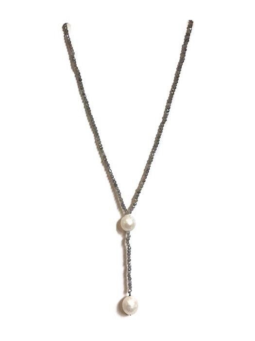 "Labradorite Beaded ""Y"" Necklace with White FWP Accents"