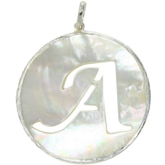 Mother of Pearl Silver Initial Pendant - Domaine Designs