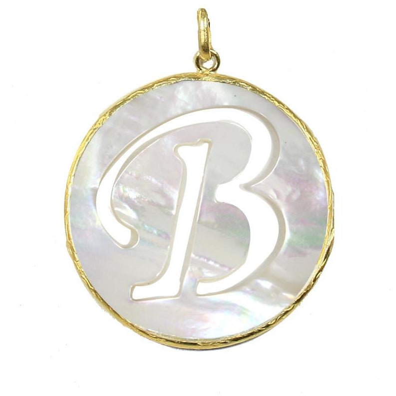 Mother of Pearl Gold Initial Pendant - Domaine Designs