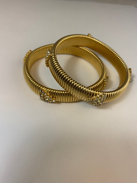 Gold Plated Cobra Bracelet With Crystal Details