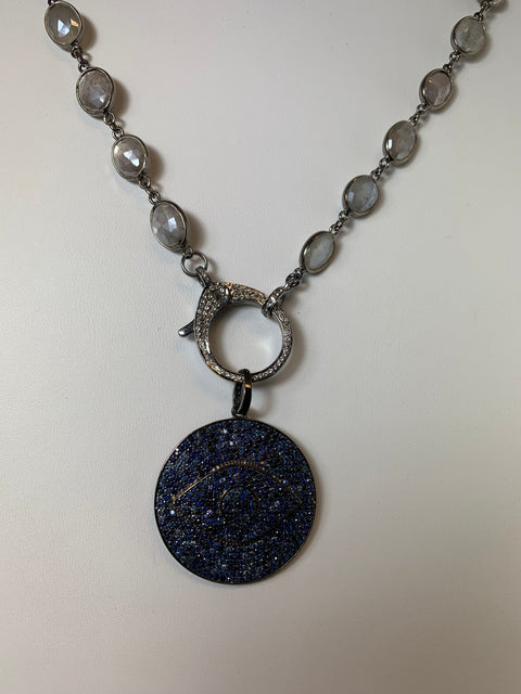 Labradorite Sterling Silver Chain With Sapphire Evil Eye Pendant