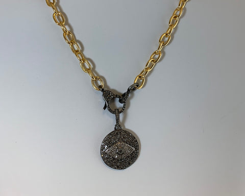 "16"" Gold Vermeil Cable Chain With 7/8"" Diamond Evil Eye Pendant"