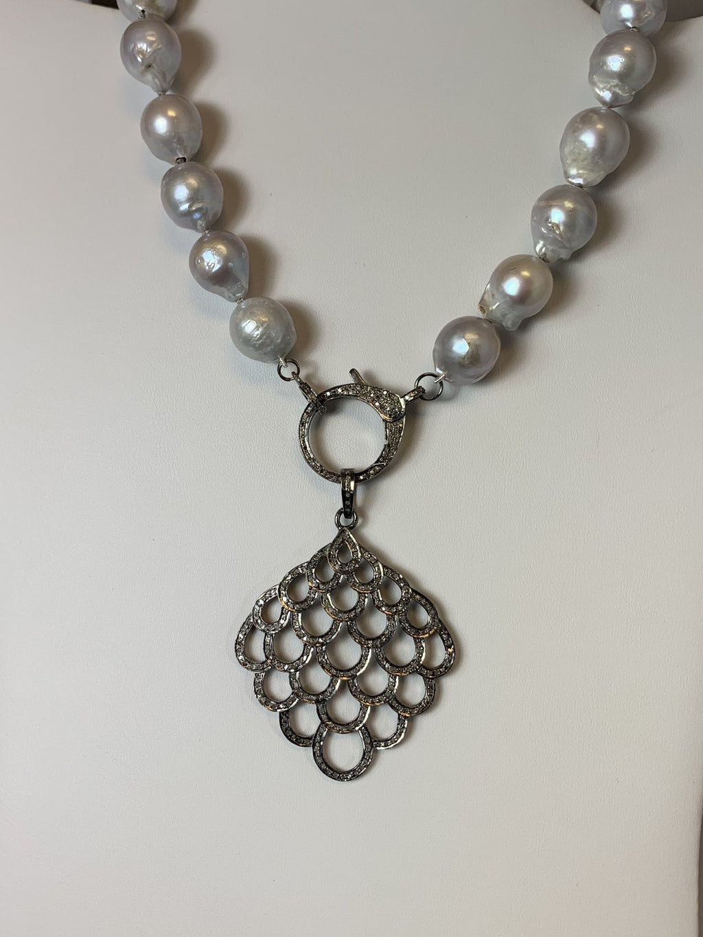 Grey Baroque With White Topaz Clasp w/ Lacy Feather Diamond Pendant