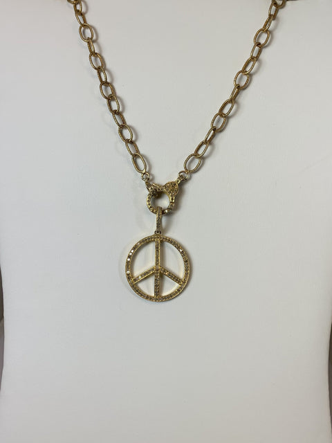 "18"" Gold Chain with Diamond Clasp Peace Symbol Gold Vermeil With Diamonds"