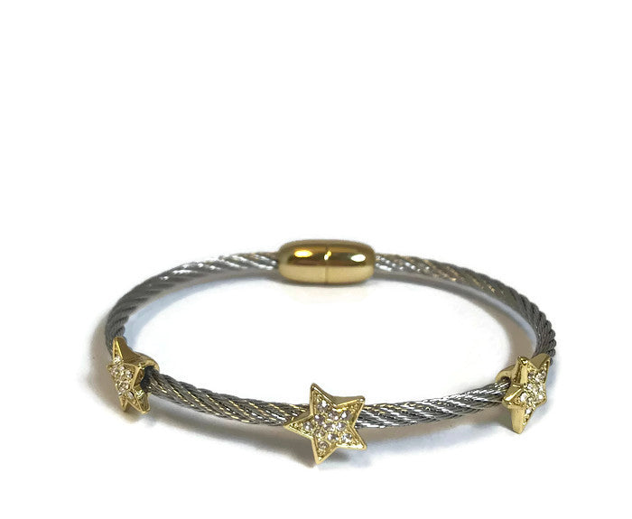 Two Tone Crystal Stars Bracelet Magnetic Closure