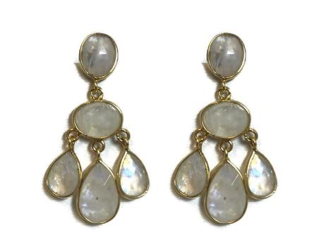 Moonstone Mini-Chandelier Earrings