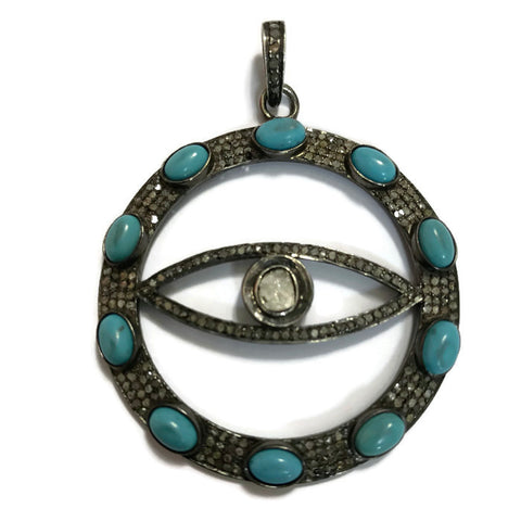 Turquoise and Evil Eye Diamond Pendant