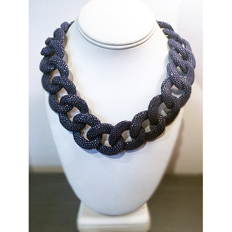 Lapis Shagreen Necklace - Domaine Designs