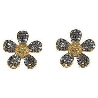 Petite Diamond Flower Earrings - Domaine Designs