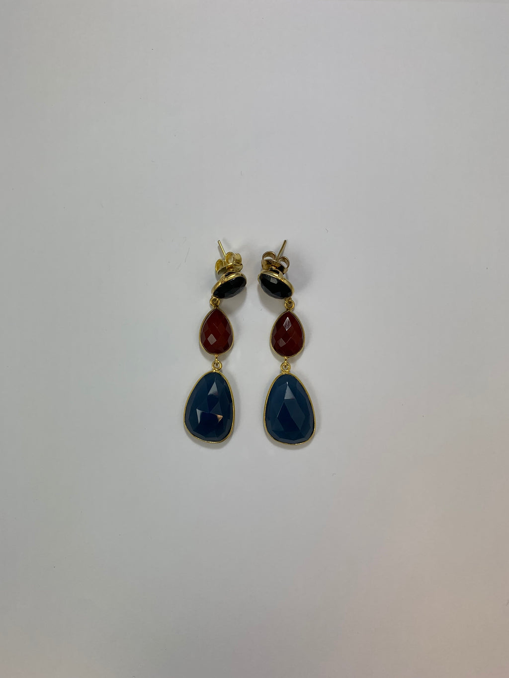 Sterling Silver Vermeil 3 Stone Drop Earrings Blue Agate, Cornelian,Amethyst