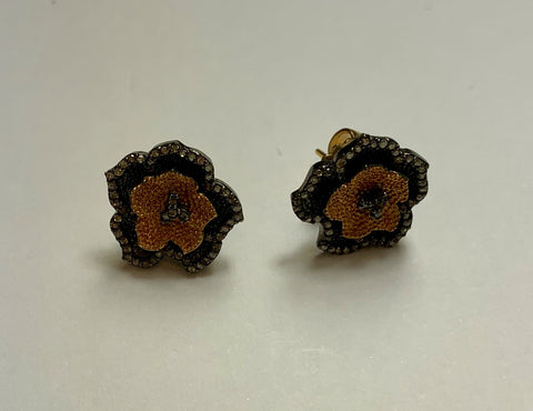 Oxidized & Vermeil Flower Earrings