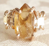 Natural Citrine and Herkimer Diamond Quartz Crystal Ring