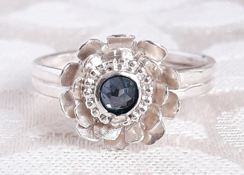 Rose Cut Blue Diamond and Sterling Silver Lotus Flower Engagement Ring