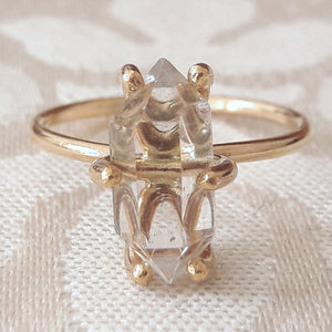 Large Herkimer Diamond Quartz Crystal Engagement Ring