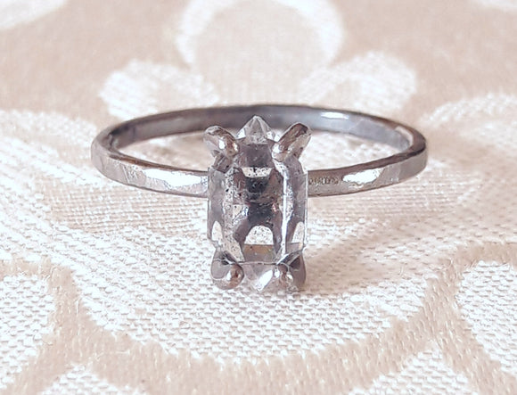 Herkimer Diamond Quartz Crystal and Oxidized Silver Ring
