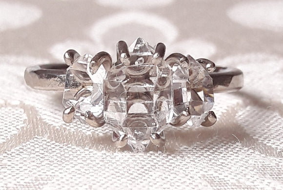 Three Stone Herkimer Diamond Quartz Crystal Engagement Ring
