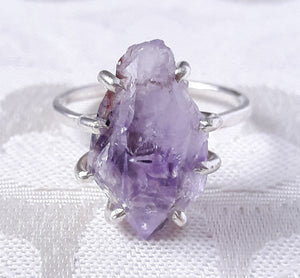 Rough Amethyst Crystal and Sterling Silver Ring