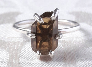 Smokey Quartz Crystal Ring