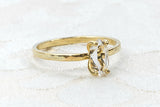 Yellow Gold Fill and Herkimer Diamond Quartz Crystal Engagement Ring