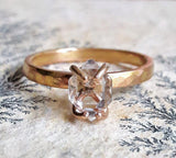 Solid 14 Karat Rose Gold Herkimer Diamond Quartz Crystal Ring