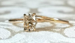 Herkimer Diamond Quartz Crystal Yellow Gold Wedding Ring Set