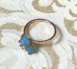 Blue Chalcedony Crescent Moon Ring