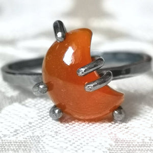 Carnelian Crescent Moon Ring