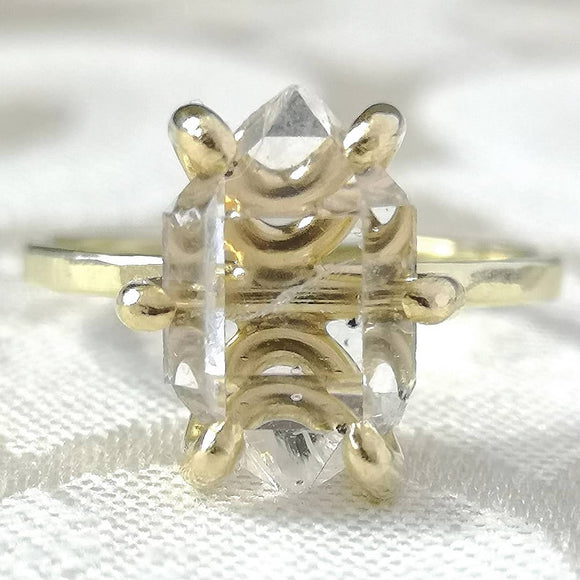 Solid Gold Large Herkimer Diamond Quartz Crystal Engagement Ring