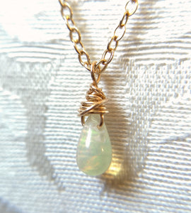 Simple Ethiopian Welo Opal and Sterling Silver Pendant Necklace