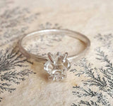 Herkimer Diamond Quartz Crystal and Sterling Silver Engagement Ring