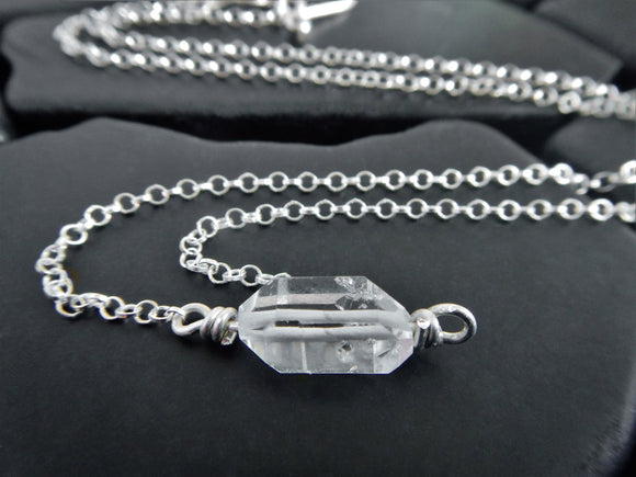 Simple Herkimer Diamond Quartz Crystal Choker Necklace