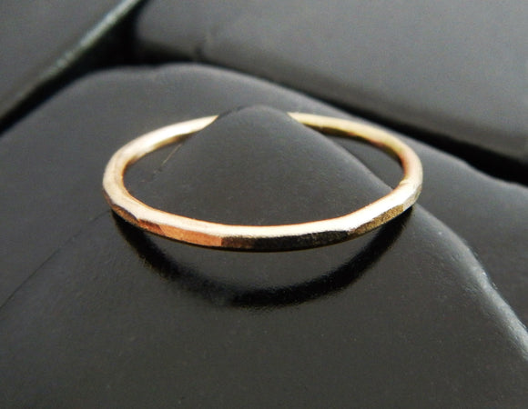 Simple Hammered Yellow Gold Fill Band