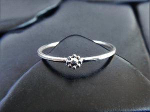 Tiny Sterling Silver Flower Stacking Ring