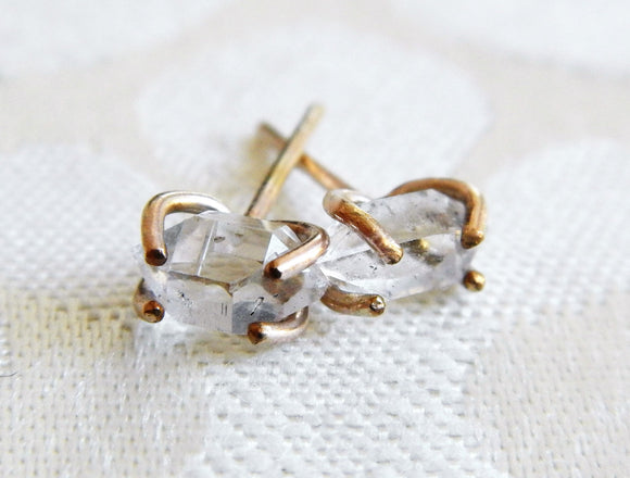 Yellow Gold Fill Herkimer Diamond Quartz Crystal Stud Earrings