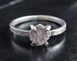 Rough Pink Diamond and Sterling Silver Engagement Ring