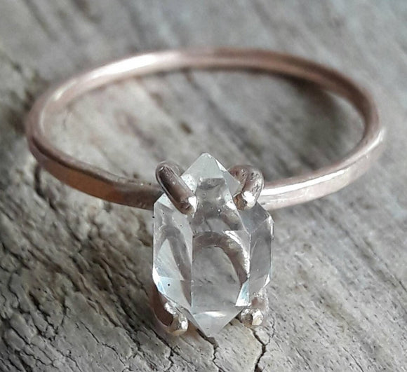Rose Gold Herkimer Diamond Quartz Crystal Ring