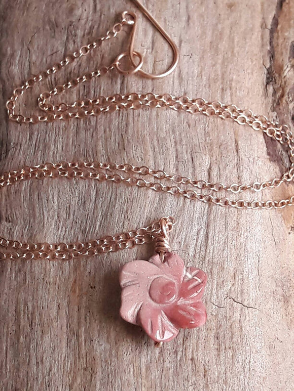 Delicate Carved Mookaite Flower Pendant Necklace