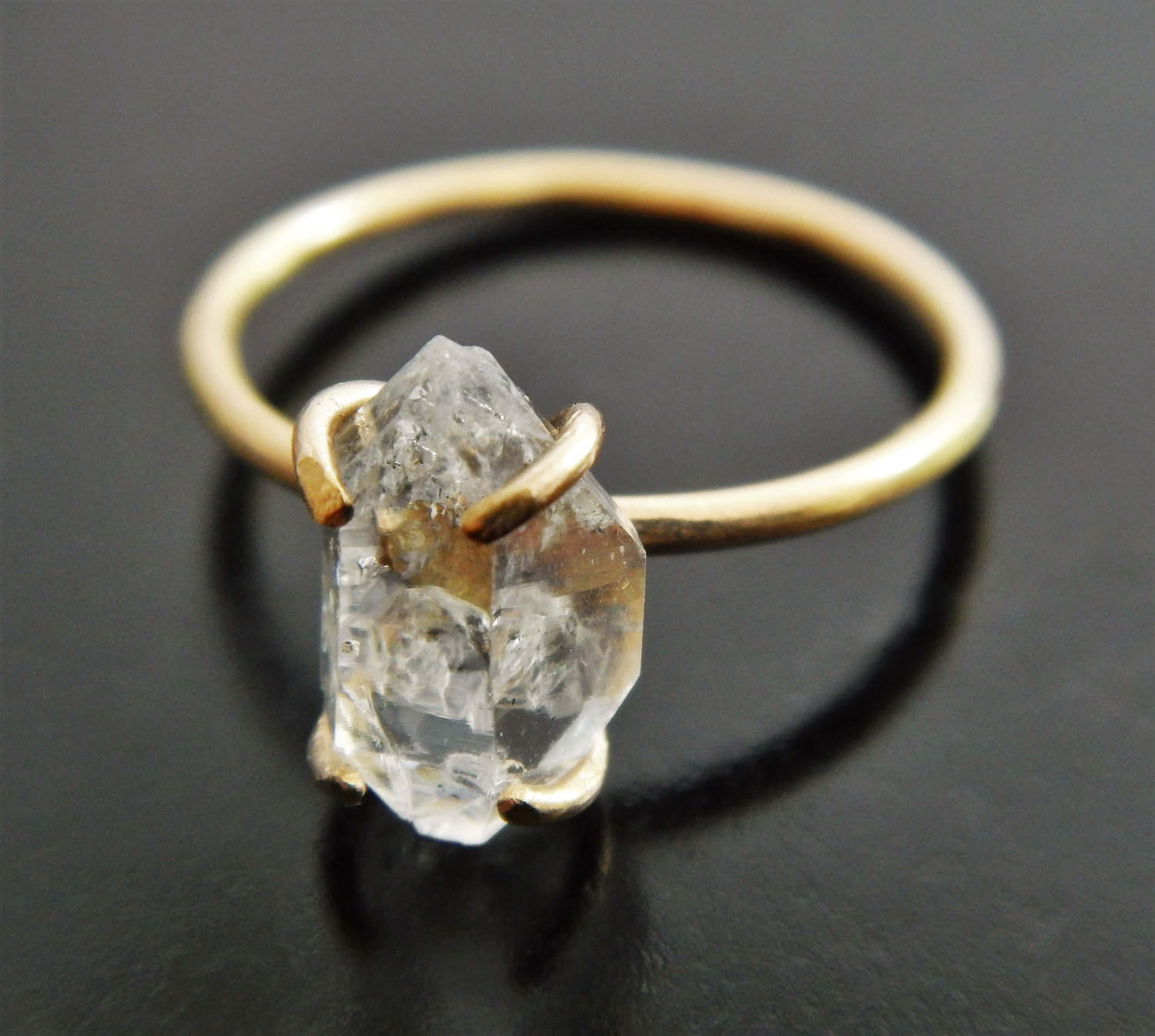 Yellow gold fill and herkimer diamond quartz crystal engagement yellow gold fill and herkimer diamond quartz crystal engagement ring junglespirit Images