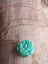 Carved Turquoise Flower Pendant Necklace