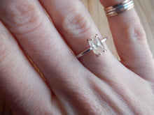 Frosted Herkimer Diamond Quartz Crystal and Sterling Silver Ring