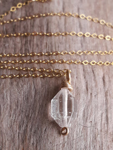 Delicate Gold Fill and Herkimer Diamond Quartz Crystal Pendant Necklace