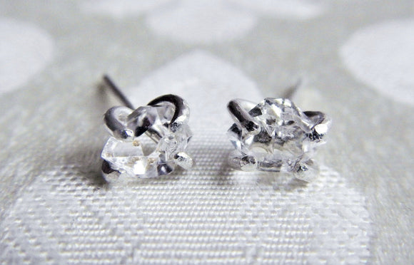 Sterling Silver and Herkimer Diamond Quartz Crystal Stud Earrings