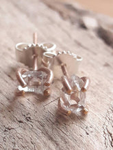 Rose Gold Fill Herkimer Diamond Quartz Crystal Stud Earrings