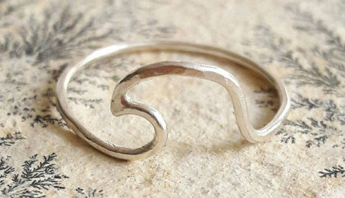 Sterling Silver Wave Ring - Beach Ring - Ocean Wave Ring - Mermaid Jewelry - Surfer Ring - Delicate Silver Ring - Hammered Silver Ring