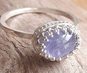 Genuine Tanzanite and Sterling Silver Crown Ring