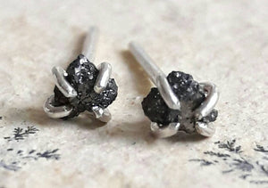 Rough Black Diamond Stud Earrings