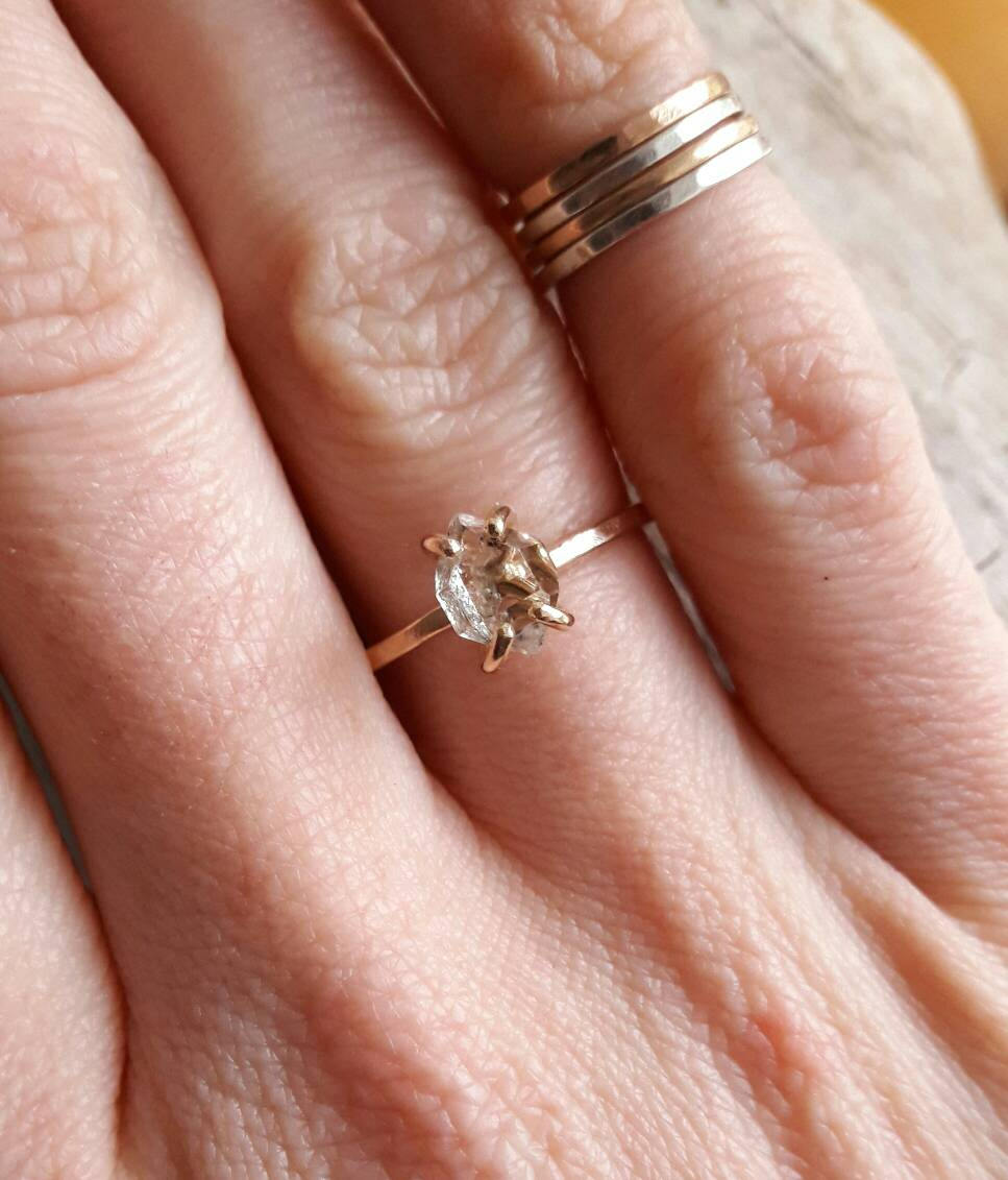 Yellow Gold Fill and Herkimer Diamond Quartz Crystal Engagement Ring ...