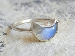 Luminous Carved Crescent Moon and Sterling Silver Ring
