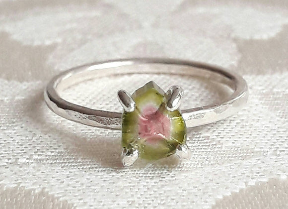 Watermelon Tourmaline Crystal Slice Ring